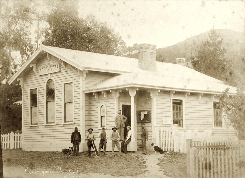 Akaroa Courthouse. H. Poulton photograph, 1885