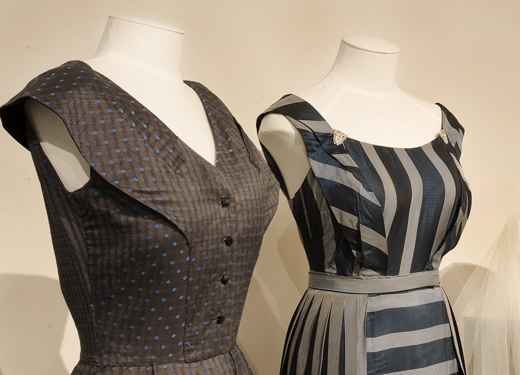 grey dress and striped ball gown